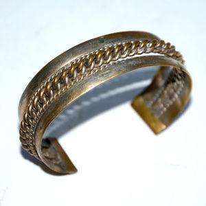 vintage African metal cuff bangle bracelet brass